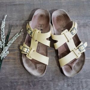 Birkenstock Birkis Yellow Buckle Cork Sandals